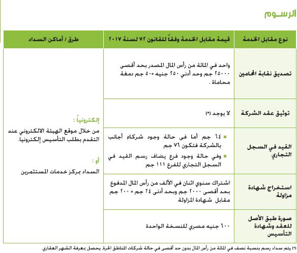 اجراءات تأسيس الشركات في مصر